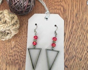 Boho earrings; triangle earrings; drop earrings; antique bronze earrings; red bead earrings;