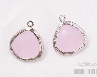 F100-S-RO// Rhodium Framed Frosted Rose Faceted Glass Stone Pendant, 2 pcs