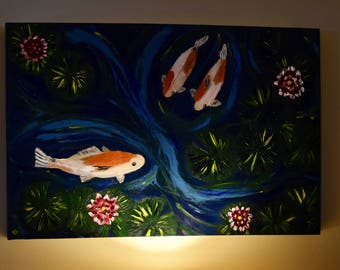 The Golden Hour, Large Painting, Koi Pond