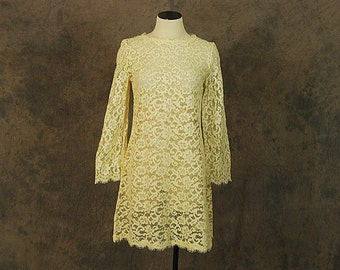 vintage 60s Lace Dress - 1960s Sheer Cream Lace Mini Dress Bell Sleeve Tent Dress Sz S