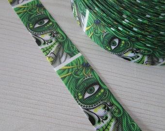 Green Sugar Skull Calaveras Day of the dead Tattoo Grosgrain Ribbon x 1 metre