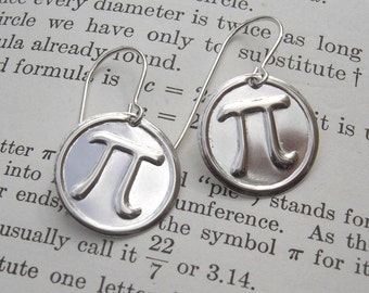 Sterling Silver Pi Earrings, Math Jewelry, Math Teacher Gift, Pi Jewelry, Geometry, Geekery, Teacher Appreciation, Mathematician Science