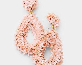 Assorted Colors - Felt Back Flower Cluster Teardrop Earrings