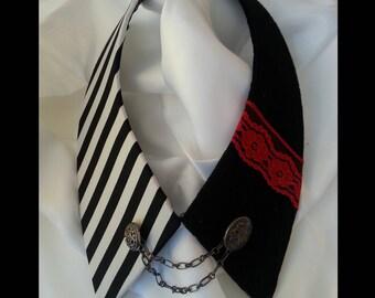 Black white point Jewel collar