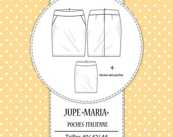 "Pack 3 sizes: Sewing pattern ""Maria"" skirt T40/L - T42/XL - T44/2XL"