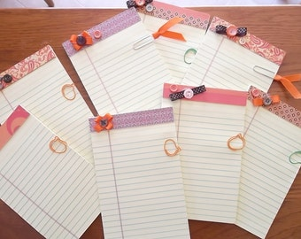 Decorated Note Pads, Fall, Autum, Embellished, Halloween, Gifts, Stocking Stuffers, Party Favors, Thanksgiving