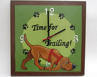 "Made to Order Bloodhound Clock - ""Time for Trailing"""