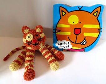 Crochet Cat with Carlos the Cat board book; crochet toy