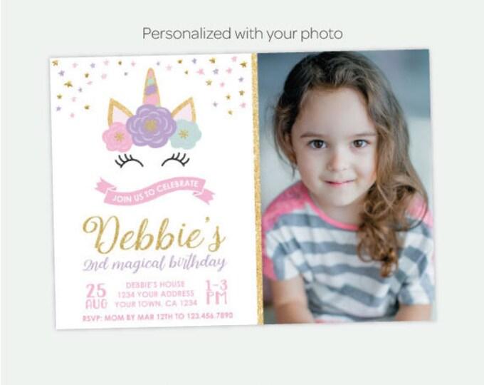 Unicorn Face Invitation with Photo, Magical Unicorn Birthday Party, Floral Unicorn Invitation, Personalized DIGITAL Invitations