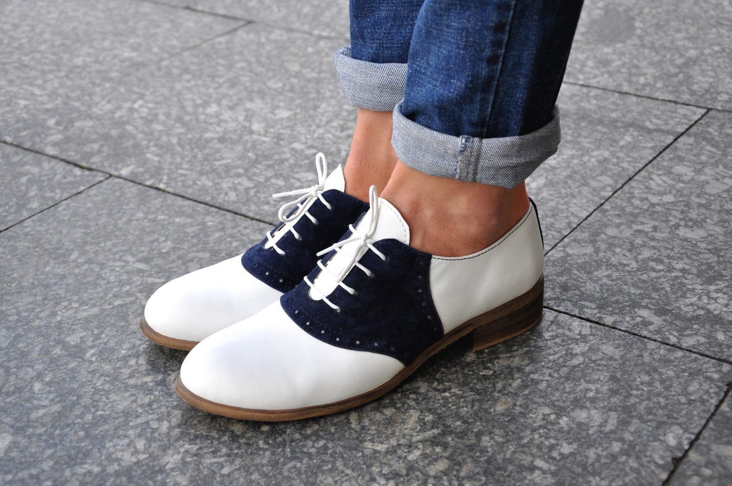 Saddle Womens Leather Oxfords Classic Handmade Shoes