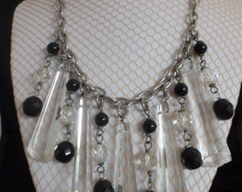 Vintage 1990's Large Translucent Crystals and Black Beads Necklace