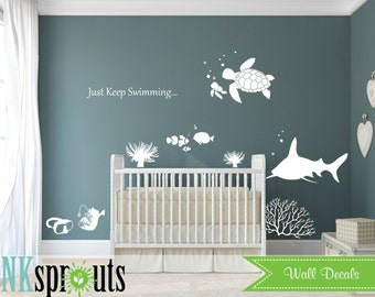 Under the sea Decal, Just keep Swimming, Ocean friends, Whale family, Nautical, Modern Nursery, Nursery decals
