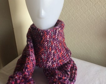 Hand Knitted Pink Multi Scarf with Pom pom finishing.