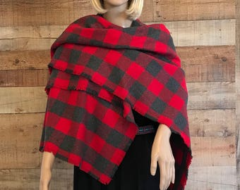 Flannel Blanket Scarf Frayed, Flannel Plaid Scarf, Cotton Blanket Scarf