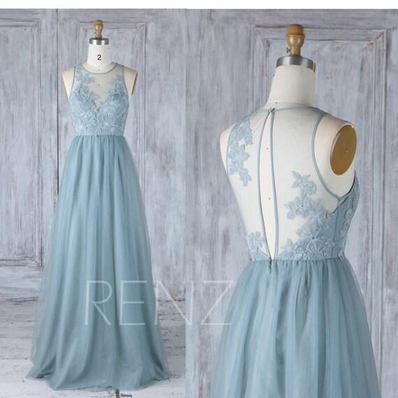 Dusty Blue Tulle Bridesmaid DressLace Illusion Wedding