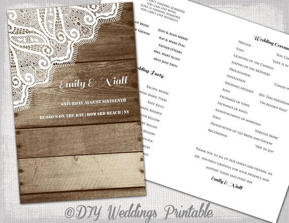 Rustic Wedding Program Printable Program Template Wood
