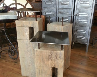 Reclaimed salvaged beam end table.