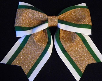 Forest Green, White and Gold Glitter Hairbow