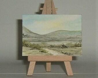 art painting aceo atc original watercolour (ref E193)