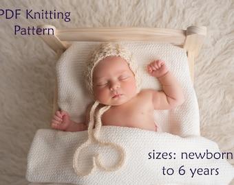 pdf knitting pattern, pdf knitting tutorial, baby bonnet, newborn bonnet, toddler bonnet, lace bonnet, knit pattern baby, bonnet pattern