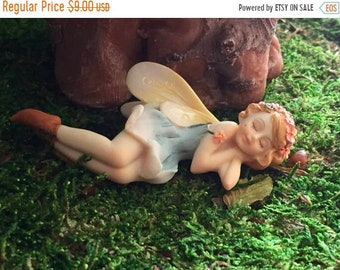SALE Sleeping Flower Fairy Figurine, Fairy Garden Fairy, #88, Fairy Garden Accessory, Mini Home & Garden Decor, Blue Dress Fairy