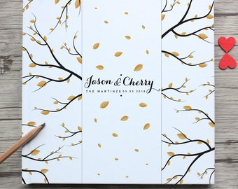 Personalized White Wedding Guest Book,Custom Mr & Mrs Name And Date With  Autumn Leaves Wedding Guest Book,Wedding Gift Souvenir For Couple
