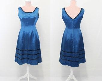 1960s Silk Dress / Blue 60s Silk Dress / Vintage Dress / Small