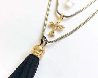 Chariot Neckalce. Layered Snake Chain with Cross, Tassel, and Crystal Charms.