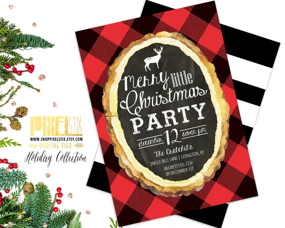 items similar to flannel christmas party invitation