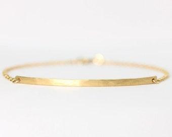 Long curved gold bar bracelet - 14k gold filled curved bar bracelet