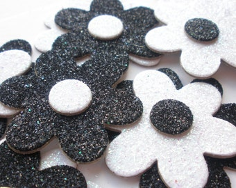 GLiTTER Flowers - Chipboard Die Cuts - Black & White  Flower Embellishments