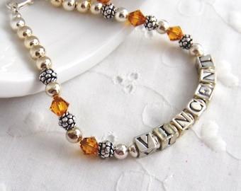 Name Bracelet Mothers Bracelet Personalized Name Bracelet Stacking Bracelet sterling bracelet with childs name Womens Fashion Jewelry