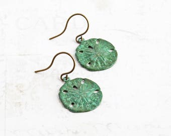 Small Sand Dollar Earrings, Green Patina Copper Earrings, Hand Finished, Beach Jewelry