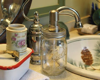 Mason Jar Soap Dispenser | Mason Jar Lotion Dispenser | Clear Mason Jar | Polished Silver Soap Pump |  Farmhouse Decor |  Canning Jar |