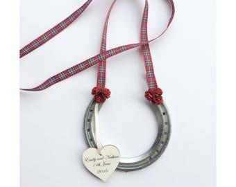 Royal Stewart tartan personalised wedding horseshoe, lucky horseshoe, Scottish wedding, red tartan ribbon