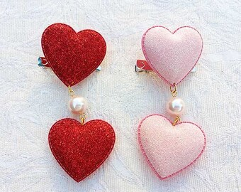 2 Glitter Hearts Hair/Brooch Accessory