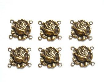 6 Antique Bronze Rose Connectors - 4-FL-2
