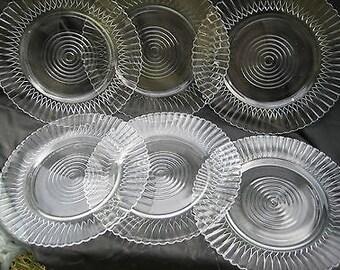 MACBETH EVANS clear PETALWARE Plates Set of 6