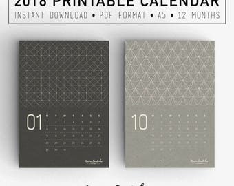 Printable Wall Calendar 2018, A5 Textures Calendar, 2018 Agenda, PDF Instant download