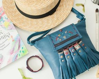 Blue leather ethnic purse with fringe, embroidered small crossbody bag, gypsy hippie handbag, shoulder boho mini purse, birthday gift sister
