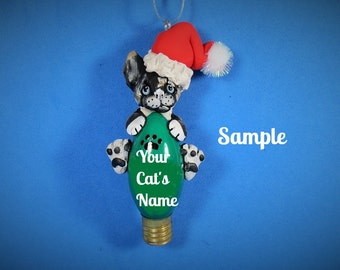Tortoise Tabby Santa Kitty Cat Christmas Light Bulb Ornament Sally's Bits of Clay PERSONALIZED FREE with cat's name