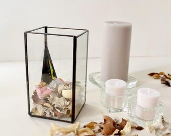 Hurricane Glass Candle Holder, Original Wedding Decor, Clear Glass Box,  Modern Glass Garden Party Decor