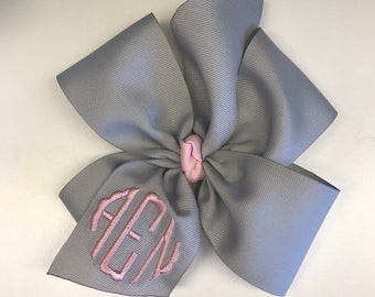 Monogram Hair Bow, Any Initials, scalloped Girls Large Size, Custom Boutique, Embroidered Bows, Customized Formal, Lettering Thread, Gifts
