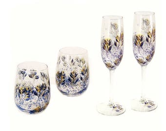 50th Anniversary Wine Glass Gift Set - 2 Beverage Glasses + 2 Champagne Flutes Navy Blue and Gold Roses Housewarming Gifts Non Alcohol Gifts