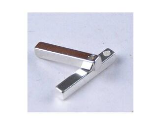 SET of 3 rectangle 15 * 2.5 cm stick (C53) silver 3d charm