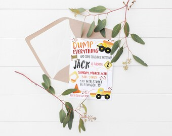 Printable Dump Everything Kids Dump Truck Birthday Invitation