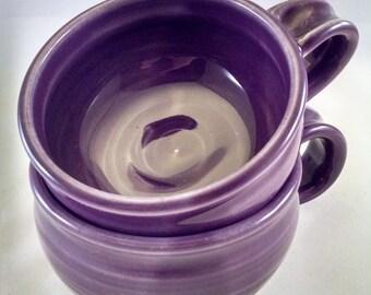 Pottery Soup Mug, Pottery Soup Bowl, Soup Bowl with Handle, Purple Soup Mug, Soup Crock, Oversized Mug, Cappuccino, Purple Cup Ready to Ship