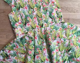 Pink & Green Flamingos Twirly Dress