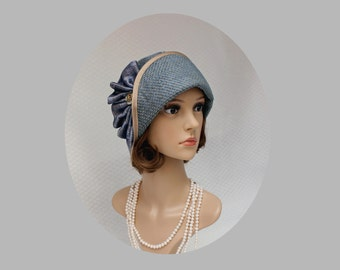 Beautiful cloche hat in grey and blue, Great Gatsby hat, flapper hat, high tea hat, Downton Abbey hat, 1920s cloche hat, Miss Fisher hat