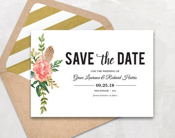 Save the Date Template, Floral Save the Date Card, Boho Save the Date Printable Card, Instant Download - EDITABLE Text - 5x7, STD0011